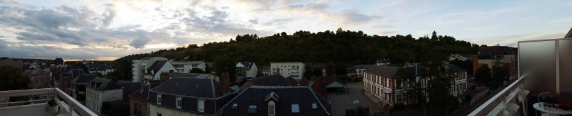 Panoramic view from my AirBnB bedroom in Evreux.